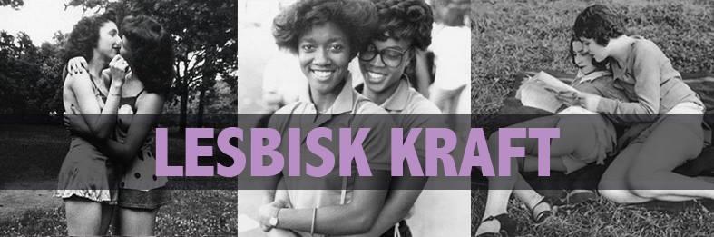 Header med tre lesbiska par med texten LESBISK KRAFT ovanpå