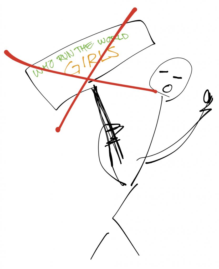 """Bild på arg streckperson hållande en skylt med texten """"Who run the world GIRLS"""" på. Personen hötter med näven. Skylten är överkryssad med två röda streck."""